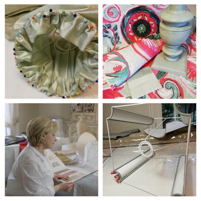 Création d'abat-jour et réalisation textile en linge ancien
